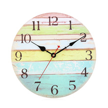 Retro Ocean Stripe Style Wall Clock Wooden Colorful Ocean Stripe Wall Clock Modern Design for House Kitchen Home Decor(China)