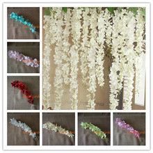 50PCS Artificial Hydrangea Wisteria Flower For DIY Simulation Wedding Arch Square Rattan Wall Hanging Basket Can Be Extension