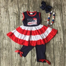 summer baby girls suit kids wear boutique clothes girls flag dress outfits July 4th outfits navy capri clothing with accessories