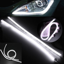 2PCS 45CM Gel Silicon Pure White Flexible Soft Tube Guide 3020 SMD 57 LED Car Strip Lamp DRL Led Daytime Running Light DC12V