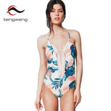 Tengweng 2017 New Sexy Women Halter Deep V Neck Lace One Piece Swimsuit Monokini Leaves Print Swimwear Beach Plus Size Bath Suit