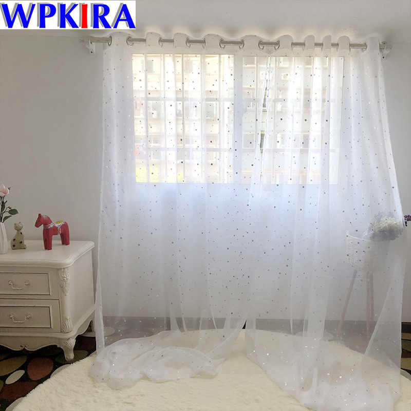 Modern White Silve Star Curtains Tulle Living Room Home Decor Sheer Window Curtain Living Room Tulle Panels For Kitchen WP234-40