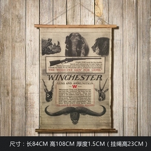 Large Retro WINCHESTER Linen Cloth Painting Scrolls Poster Mural Paintings Banners Hanging Art Office Loft Ornament Wall