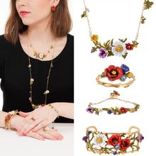 Amybaby 2017 France Pairs Les Nereides Poppy Flower Daisy Ladybird Luxury Necklace Stud earring Ring Bracelet Jewelry Sets(China)