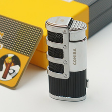 Cohiba Gridding Stripes Style Turbo Gas Butane 3 Torch Jet Flame Cigar Lighter With Punch Cigarette Windproof Lighters Gift Box(China)