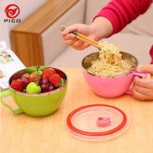 Heat insulation stainless steel bowls of ice cream lunch box japanese soup instant noodles bowl With Handle fruit bowl ZL194