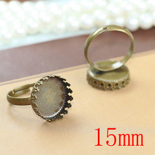 100pcs Antique Brass Pad Open Adjustable ring square Base Round Cabochon Size:15mm,Ring base,blank ring base