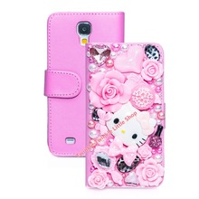 Hot 3D Hello Kitty Flip Wallet Leather Case For Samsung Galaxy S7 S6 S5 S4 Note2 Note3 Note4 Note5 S7 edge S6 edge Phone Cases(China)