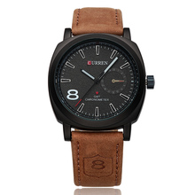 2016 hot original brand watch 100% genuine leather wrist straps luxury japan quartz movt business women curren 8139 watches men