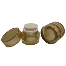 2 pcs 5 gr Acrylic Plastic Double Wall Gold Jars Pot Make up Cream Cosmetics Lotion Container (AY190(5)Gold-C=2 pcs)