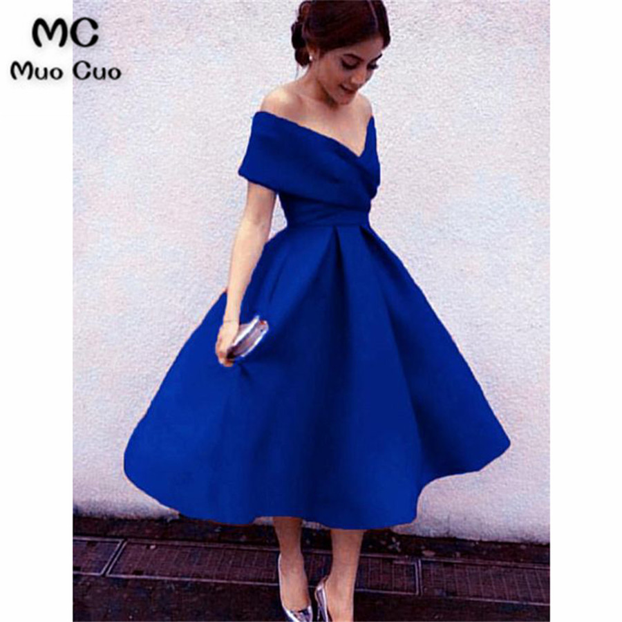 Royal Blue Off Shoulder Tea Length Bridesmaid Dresses, Charming Party Dresses, Lovely Wedding Party Dresses