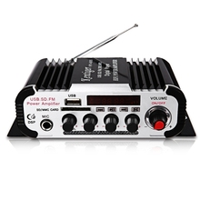 HY-600 Mini FM IR Control 20-20KHz 2 Channels FM MP3 USB HiFi Stereo Power Digital Amplifier Support U disk SD / MMC card(China)