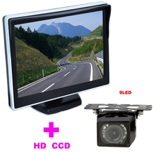 "9LED Car Rearview Camera 170 Angle car backup camera 2 in 1 Auto Parking Assistance System 5"" TFT LCD Car mirror Monitor"