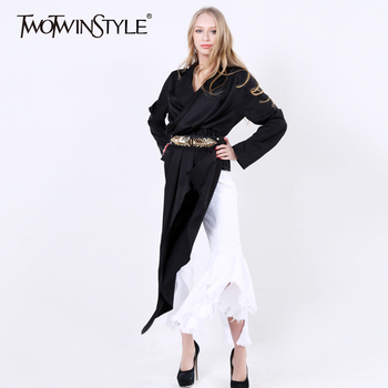 [Twotwinstyle] 2017 primavera irregular plisado alta cintura cuello alto de manga larga camiseta de las nuevas mujeres de la moda clothing
