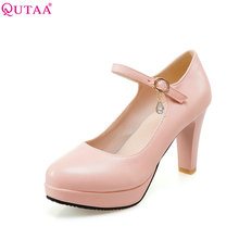 Buy QUTAA 2017 Women Pumps Ladies Shoes White Square High Heel Round Toe Rhinestone Fashion Woman Wedding Shoes Size 34-43 for $26.72 in AliExpress store