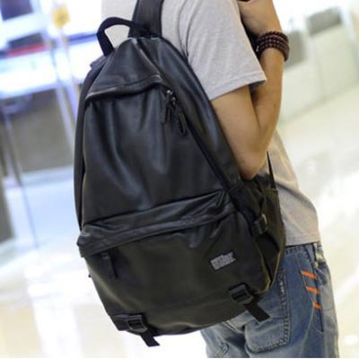 2014 new design PU pure color mens travel bag college student school causal backpack book bag<br><br>Aliexpress
