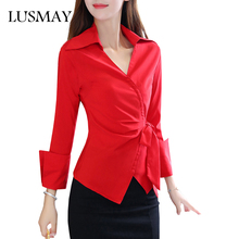 New Fashion Wrap Blouse Long Sleeve 2017 Autumn Tops Women Blouses V Neck Irregular Elegant Casual Red Shirt With Bow Blet