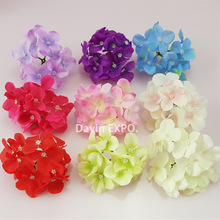 NEW 50 Pcs/Lot  Artificial Hydrangea Silk Flowers Heads Decoration for Wedding Party Banquet Home Decorative Flowers