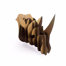 DIY Africa Rhino Head Wall Mount Hanging Decor Art 3d Puzzle Cardboard Animal Head Wall Decoration Rhinoceros Ornament Cool Gift