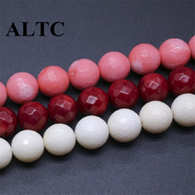 3 colors 10mm coral Facet round beads Natural Stone Beads for DIY Jewelry Making Accessories(China)