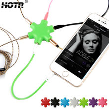 3.5mm Hexagon Shape Earphone Adapter Male To 2 3 4 5 Female Audio Output Share Distributor Headphone Splitter Extension Line(China)
