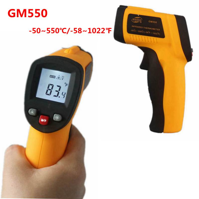 GM550 LCD Non-Contact Digital  -50~550C -58~1022F Pyrometer 0.95EM Celsius Laser IR Infrared Thermometer<br><br>Aliexpress