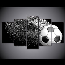 5 Panels Art Football Printed Canvas Painting Living Room Modern Wall Art Ball Running Pictures Home Poster No Frame(China)