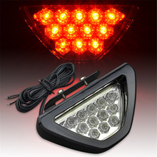 Red Universal Fit Car Styling 12V LED DRL Rear Tail Brake Stop Light Motorcycle Flashing Warning Parking Fog Lamp F1 Style(China)