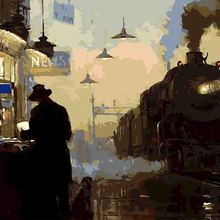 Lonesome Street A Man Buying Something Steam Train Shops By Numbers Digital Oil Painting Decor For Living Room Picture Canvas(China)