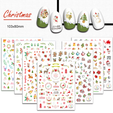 1PCS Nail Xmas Design Christmas Lovely Animal Garland Colorful Sticker 3D Nail Art Charm Children DIY Manicure Decal CHCA082-090