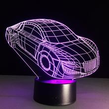 New Car Shape 3D Illusion LED Night Lights Colorful Acrylic Table Lamp For Party Christmas Gift Kids Toys Home Decor Bar Lamp(China)