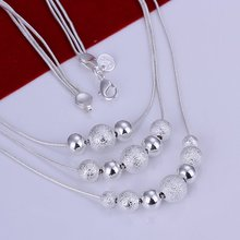 HOT sale!!!N020 Three Line Bead Necklace Factory Price Free shipping silver necklace.fashion jewelry jewellry necklace(China)