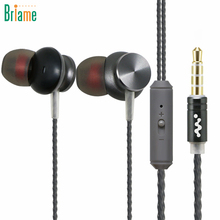 Briame In-Ear Metal Earphones Bass Stereo Headset Sport Headphones with Microphone for iPhone 5 5s 6 6s Xiaomi Samsung Huawei(China)