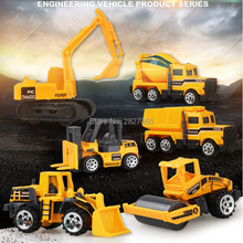 6 types/set Alloy Diecast Construction Vehicle mini Engineering Car Dump-car Dump Truck Model Classic toys for boys and children