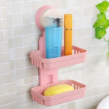 Strong adsorption Bathroom Soap Box   Shower Tray Bathroom Accessories Two Layer Suction Holder Soap Dish Storage Basket  Stand