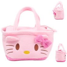 2017 Pink Color Cute Kawaii Cartoon Plush Shoulder Bags Cartoon Hello Kitty Shoulder Bag Women Children Handbag for Kids Girls