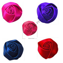 40MM Satin Ribbon Bud Rose Flower For Wedding Packing Cloth Hairbow DIY Crafts 100pcs Free Shipping