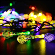 4.8M 30LED Large Water Drop Solar String Lights Party Wedding Decor Lights J10(China)