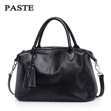 100% Real soft leather women's handbag large capacity shoulder bag leather female boston bag high quality tote bag tassel(China)