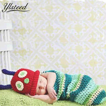 2017 New Baby Photography Props Cartoon Caps + Sleeping Bag Set Newborn Fotografia Crochet Infant Hat Swaddle Winter Baby Set