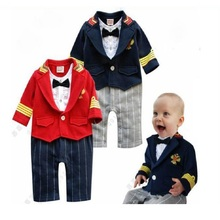 2017 Gentleman Fashion Baby Rompers Infant Costumes Tuxedo Jumpsuits 100% Cotton Baby Boy Clothes Sets 80 90 95 Jumper