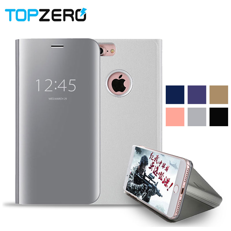 Smart Leather Flip Stand Mirror Case iPhone 6 6s 7 8 Plus X Mirror Flip Case iPhone 6Plus 7Plus 8Plus X Case 360 Cover