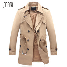 MOGU New Arrival 2017 Trench Coat Men Black Fashion Trench Men Khaki Trench Coat Men Outerwear Men's Trench Coat Jackets(China)
