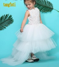 High Low Flower Girl Dresses Tiered Appliques Tulle Kids Prom Party Dress Communion Girl Dress For Wedding Real Photos