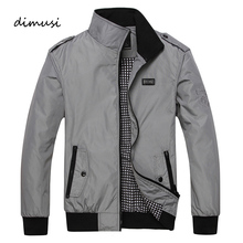 DIMUSI Spring Autumn Men's Jacket Male Overcoat Casual Solid Jacket Slim Fit Stand Collar Zipper Men Jackets Coat 3XL,YA672