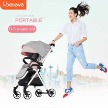 I.believe High landscape baby stroller lying portable lightweight baby trolley aluminium alloy newborn pram cart by airplane