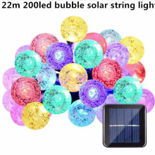 22m 200LED bubble Solar String Lights Outdoor Fairy Light String for Christmas Wedding Party Decoration with Solar Panel(China)