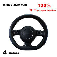 DONYUMMYJO NEW D Ring Top Layer Leather Car Steering Wheel Cover for Audi Volkswagen GTI Golf 7 R MK7 VW Polo Scirocco Size 38cm