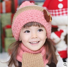 Children's colored rib micky beret scarf wool twinned kit manufacturers spot wholesale(China)