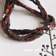 wholesale natural dark red stone cubes 4x4mm loose bead DIY bracelet necklace earrings jewelry making craft findings